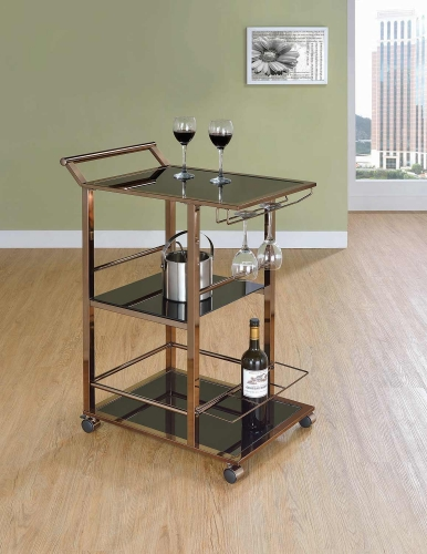 102995 Serving Cart - Chocolate Chrome/Black