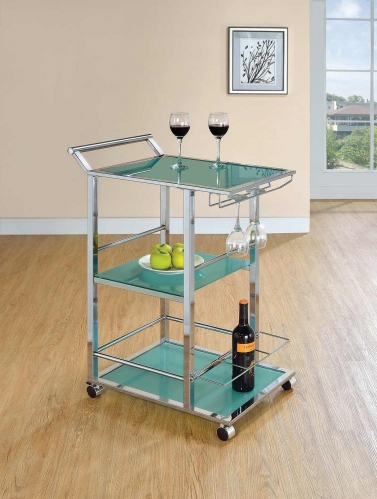 102996 Serving Cart - Chrome/Turqoise
