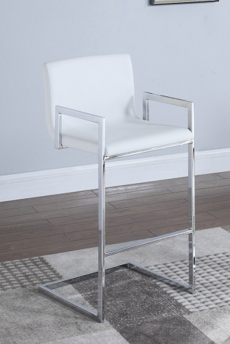 104875 Bar Stool - White/Chrome