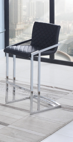 104876 Bar Stool - Black/Chrome