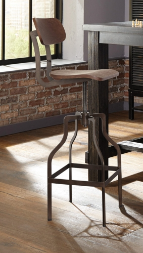 Jacinto Adjustable Industrial Bar Stool - Bronze