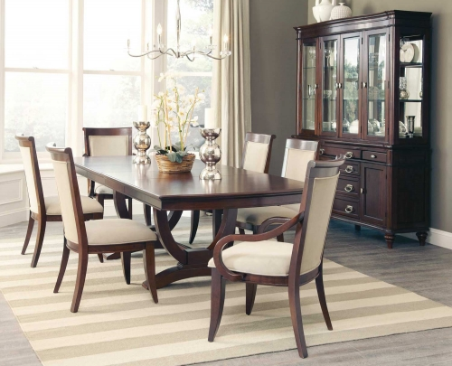 Alyssa Rect Dining Set - Dark Cognac