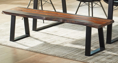 Jamestown Live Edge Dining Bench - Grey/Black