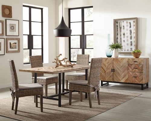 Thompson Dining Set - Natural Mango/Black Metal