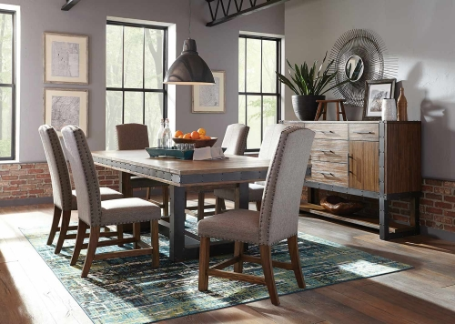 Atwater Dining Set - Vintage Bourbon/Grey Fabric