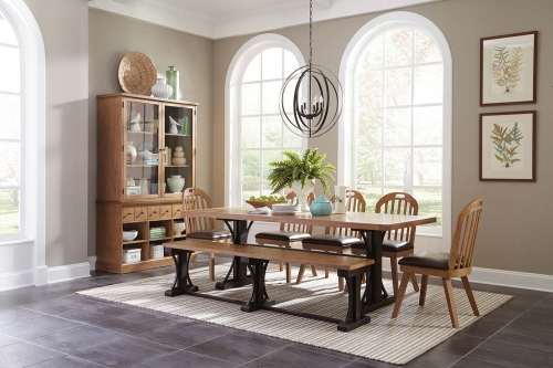 Bishop Dining Set - Drifted Pine/Dark Coffee