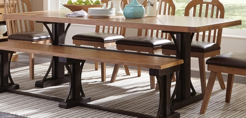 Bishop Dining Table - Drifted Pine/Dark Coffee