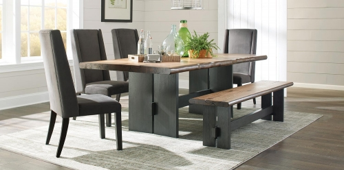 Marquette Live Edge Dining Set - Natural Honey/Charcoal