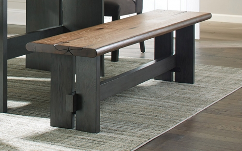 Marquette Live Edge Bench - Natural Honey/Charcoal