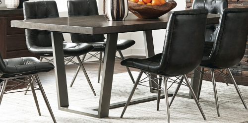 Hutchinson Dining Table - Aged Concrete/Gunmetal