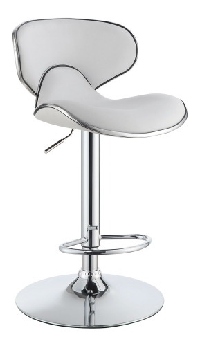 120389 Adjustable Bar Stool - White/Chrome