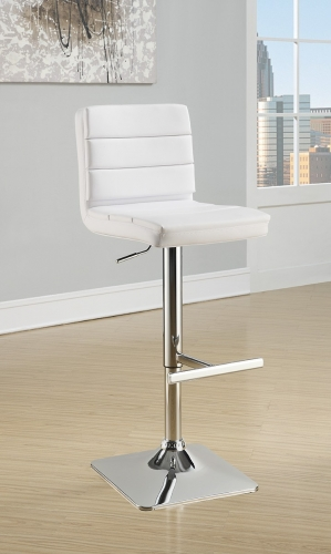 120694 Adjustable Bar Stool - Chrome/White