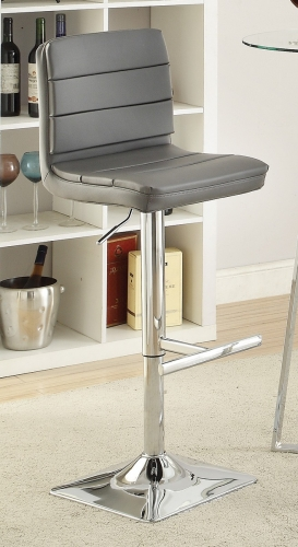 120696 Adjustable Bar Stool - Chrome/Grey
