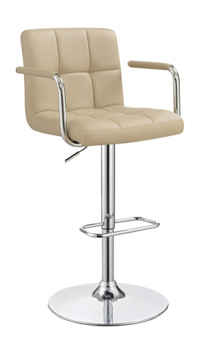 121106 Adjustable Bar Stool - Beige/Chrome