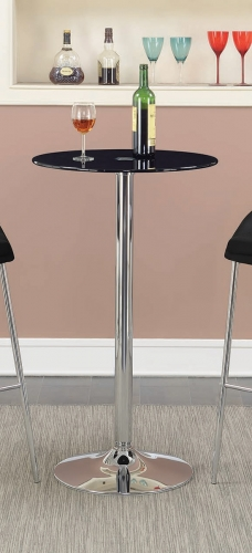 121341 Round Glass Top Bar Table - Black Glass/Chrome Base