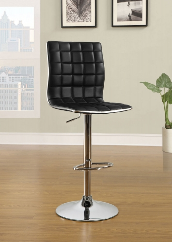 Waffle Adjustable Bar Stool - Black