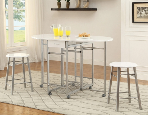 130004 3 PC Counter Height Dining Set - White/Metal