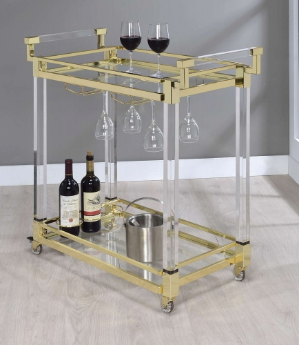 181000 Serving Cart - Clear Acrylic/Brass
