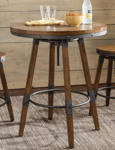Hornell Adjustable Counter/Bar Table - Weathered Oak/Gunmetal