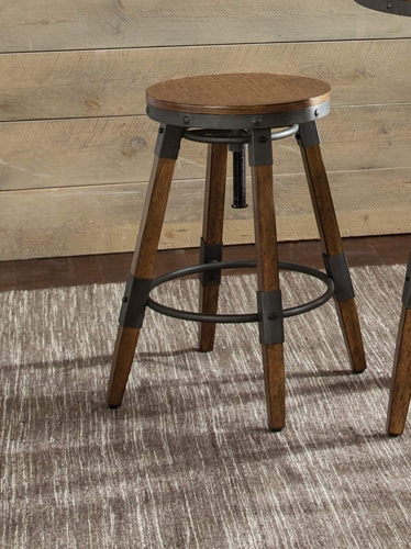 Hornell Adjustable Counter/Bar Stool - Weathered Oak/Gunmetal