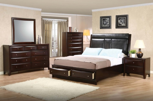 Phoenix Upholstered Storage Bedroom Set - Deep Cappuccino
