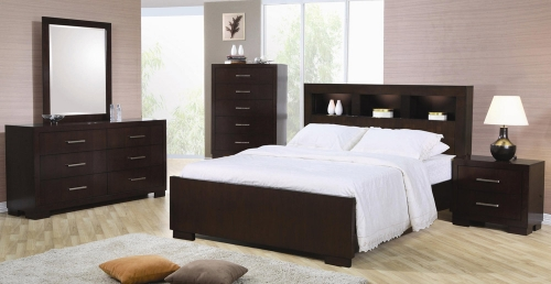 Coaster Jessica Bookcase Panel Platform Bedroom Set