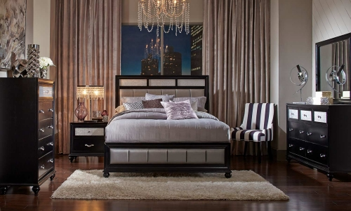 Barzini Upholstered Bedroom Set - Black