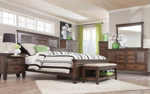 Franco Low Profile Bedroom Set - Burnished Oak