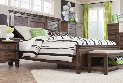 Franco Low Profile Bed - Burnished Oak