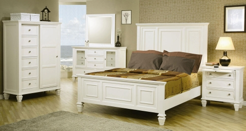 Coaster Sandy Beach Light Low Profile Panel Bedroom Set