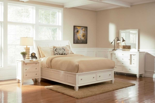 Sandy Beach Light Platform Storage Bedroom Set