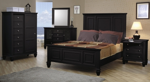 Sandy Beach Dark Low Profile Panel Bedroom Set