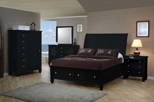 Sandy Beach Dark Platform Storage Bedroom Set