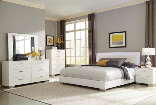 Felicity LED Lighted Bedroom Collection - High Gloss White