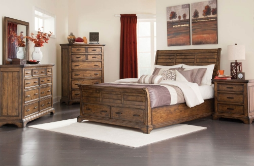 Elk Grove Storage Platform Bed Collection - Vintage Bourbon