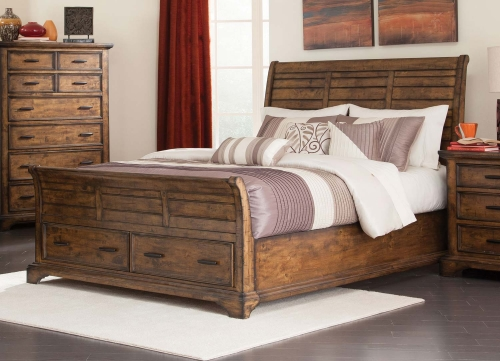 Elk Grove Storage Platform Bed - Vintage Bourbon