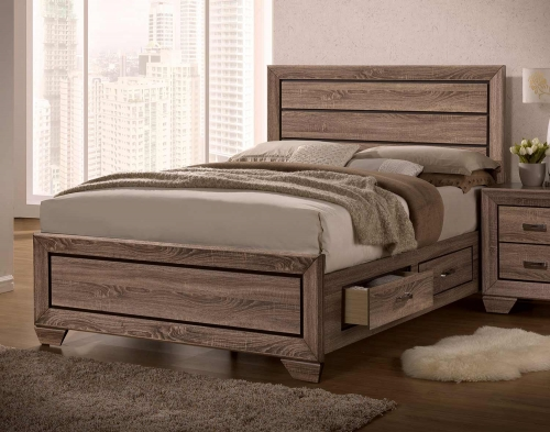 Kauffman Storage Platform Bed - Washed Taupe