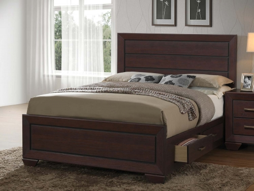 Fenbrook Storage Platform Bed - Dark Cocoa
