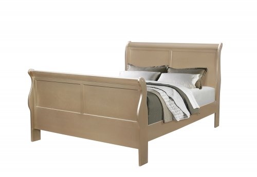 Hershel Louis Philippe Sleigh Queen Bed - Metallic Champagne