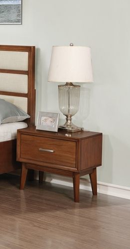 Banning Nightstand - Cream Leatherette