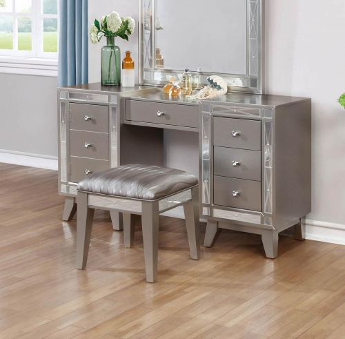 Leighton Vanity Desk and Stool - Metallic Mercury