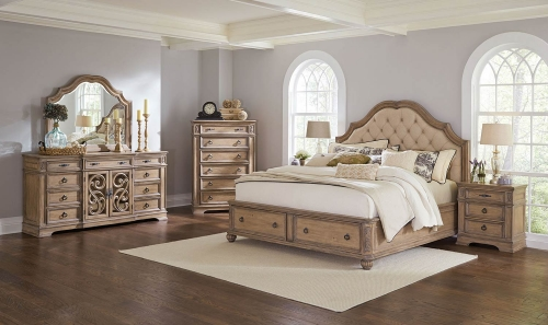 Ilana Upholstered Platform Storage Bedroom Set - Antique Linen