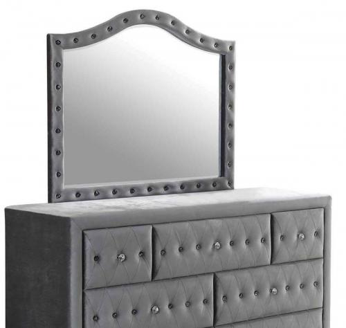 Coaster Deanna Upholstered Mirror - Silver Metallic - Grey Velvet