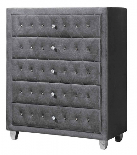 Deanna Upholstered Chest - Silver Metallic - Grey Velvet