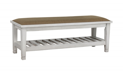 Liza Upholstered Bench - Antique White