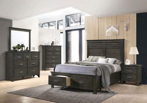 Newberry Storage Bedroom Set - Bark Wood
