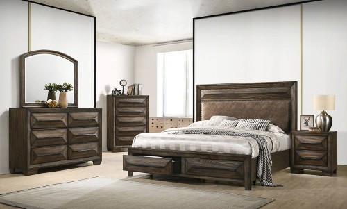 Preston Storage Bedroom Set - Rustic Chestnut