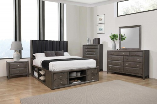 Phoenix Storage Bedroom Set - Coco Grey/Black Leatherette