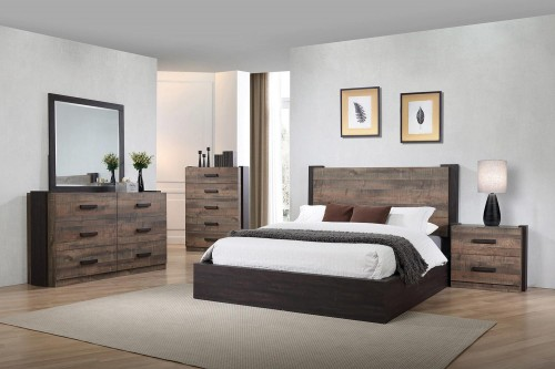 Weston Bedroom Set - Weathered Oak/Rustic Coffee