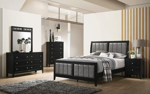 Carlton Bedroom Set - Black/Grey Leatherette